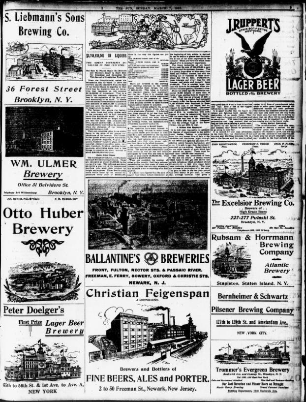 1909 New York Sun brewery ads
