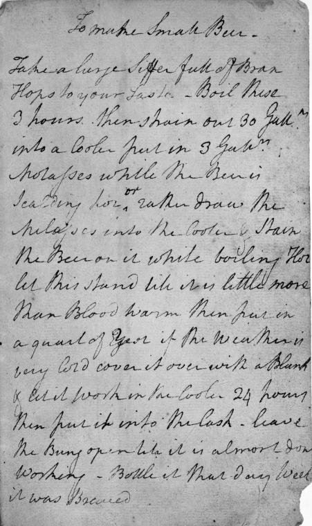 George Washington's Beer Recipe